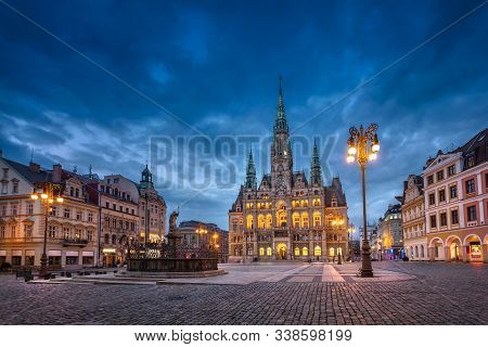 Liberec, Czechia. View Of Main Square With Town Hall Building And Fountain At Dusk (hdr-image)