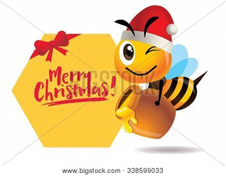 Merry Christmas. Cartoon Cute Bee Carries Honey Pot With Big Merry Christmas Greeting Signboard - Ve