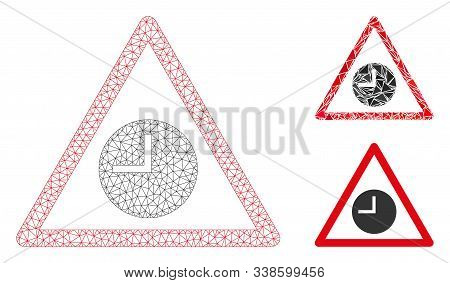 Mesh Expired Warning Model With Triangle Mosaic Icon. Wire Frame Polygonal Mesh Of Expired Warning.