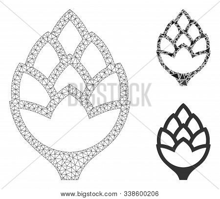 Mesh Hop Bud Model With Triangle Mosaic Icon. Wire Frame Triangular Mesh Of Hop Bud. Vector Mosaic O