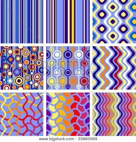 9 versions of retro seamless patterns