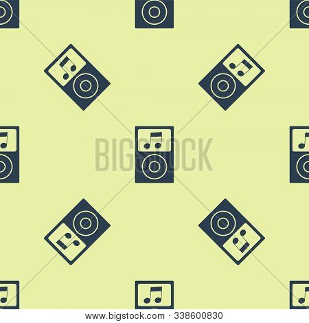 Blue Music Player Icon Isolated Seamless Pattern On Yellow Background. Portable Music Device. Vector