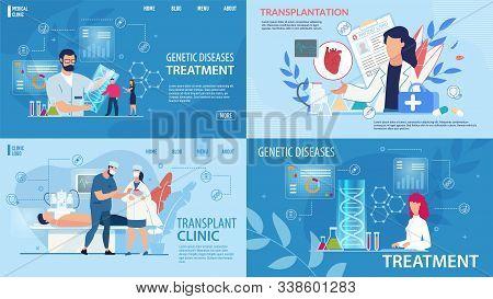 Genetic Disease Determination, Therapy. Transplantation, Life Saving. Flat Landing Page In Trendy Me