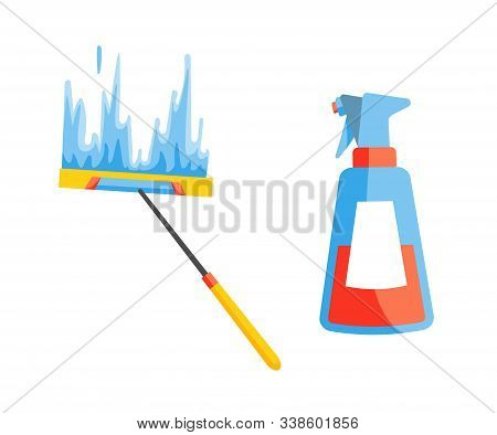 Vector Of Domestic Housework. Household Cleaning Equipments. Cleaning Kit. A Set Of Colorful Icon Co