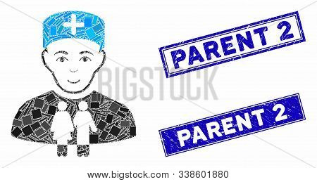 Mosaic Family Doctor Pictogram And Rectangular Parent 2 Seal Stamps. Flat Vector Family Doctor Mosai