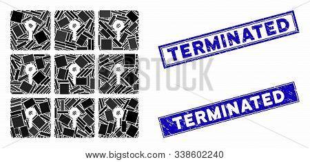 Mosaic Lockers Pictogram And Rectangular Terminated Stamps. Flat Vector Lockers Mosaic Pictogram Of