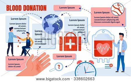 Blood Donation For Emergency Medical Care And Blood Transfusion Flat Vector Infographics, Info Poste