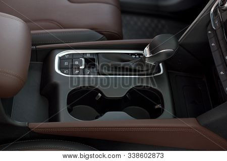 Interior Of New Modern Car With Automatic Transmission. Modern Transportation.