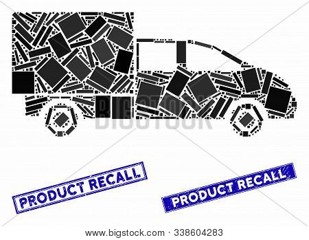 Mosaic Cargo Icon And Rectangle Product Recall Stamps. Flat Vector Cargo Mosaic Icon Of Scattered Ro