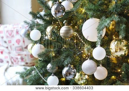 Decorated Christmas Tree With Toys Close Up Photo