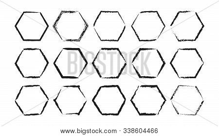 Set Of Hand-drawn Hexagonal Frames With Torn Edges With Place For Text. Isolated On A White Backgrou