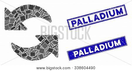 Mosaic Refresh Pictogram And Rectangle Palladium Stamps. Flat Vector Refresh Mosaic Pictogram Of Ran