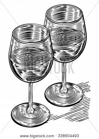 Original Illustration Of A Pair Of Wine Glasses In A Vinatge Woodblock Style