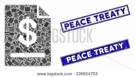 Mosaic Invoice Pictogram And Rectangular Peace Treaty Seals. Flat Vector Invoice Mosaic Pictogram Of