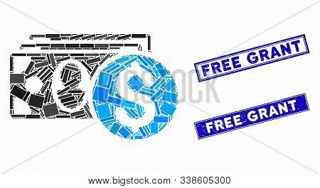 Mosaic Cash Icon And Rectangular Free Grant Rubber Prints. Flat Vector Cash Mosaic Icon Of Random Ro