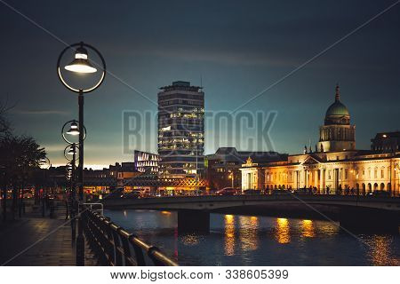 Dublin, Ireland - November 8, 2018: The Historic Custom House, Illuminated Irish Government Building