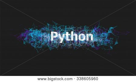 Python Language Programming Banner With Colorful Plexus Design. Software Technology Illustration. On