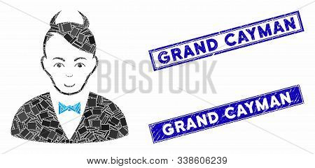 Mosaic Devil Pictogram And Rectangle Grand Cayman Watermarks. Flat Vector Devil Mosaic Pictogram Of