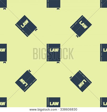 Blue Law Book Icon Isolated Seamless Pattern On Yellow Background. Legal Judge Book. Judgment Concep