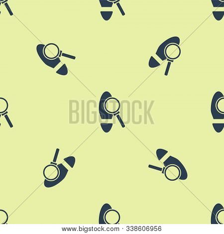 Blue Magnifying Glass With Footsteps Icon Isolated Seamless Pattern On Yellow Background. Detective