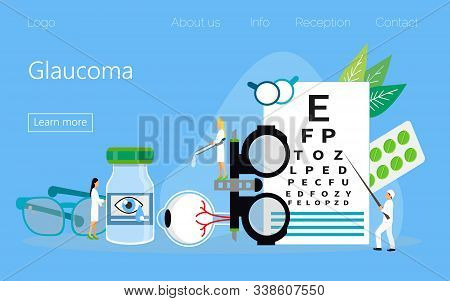 Glaucoma Treatment Concept Vector. Medical Ophthalmologist Eyesight Check Up With Tiny People Charac