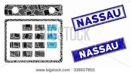 Mosaic Month Calendar Icon And Rectangular Nassau Seal Stamps. Flat Vector Month Calendar Mosaic Ico