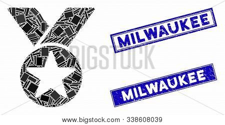 Mosaic Medal Pictogram And Rectangle Milwaukee Watermarks. Flat Vector Medal Mosaic Pictogram Of Ran