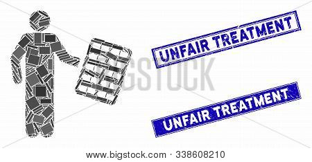 Mosaic Chemist With Blister Icon And Rectangle Unfair Treatment Seal Stamps. Flat Vector Chemist Wit