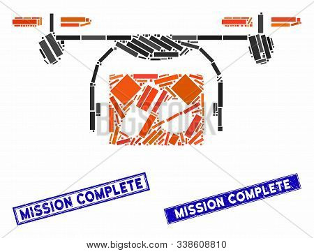 Mosaic Medical Quadcopter Icon And Rectangle Mission Complete Seals. Flat Vector Medical Quadcopter