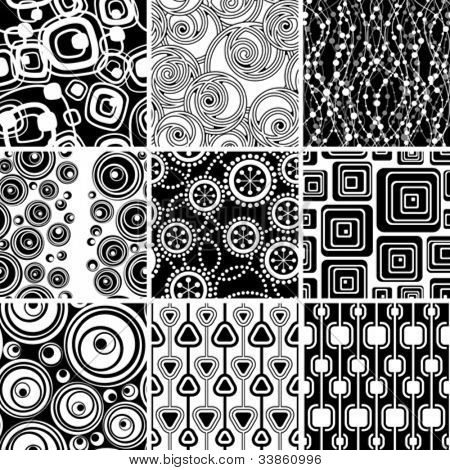 Set of black-and-white retro seamless ornaments