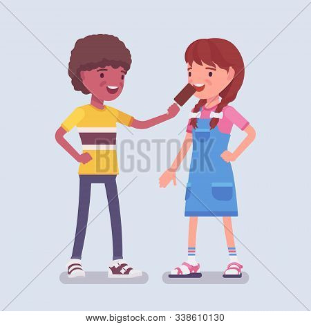 Boy Sharing Ice Cream With A Girl Friend. Child Giving Some Eskimo Pie To Enjoy, Mutual Trust, Kindn