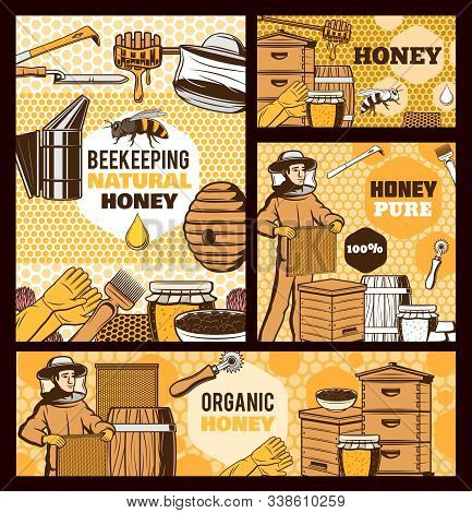Beekeepers With Honey And Bee Hives Vector Design Of Beekeeping Farm Food. Honeycomb Frames And Beeh