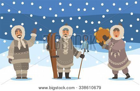 Winter Landscape With Snowfall And Set Of Eskimos. Man And Woman Representatives Of Inuits. Arctic P