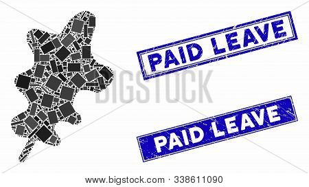 Mosaic Oak Leaf Icon And Rectangle Paid Leave Seals. Flat Vector Oak Leaf Mosaic Icon Of Scattered R