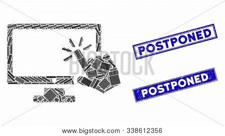 Mosaic Screen Click Icon And Rectangular Postponed Seals. Flat Vector Screen Click Mosaic Pictogram