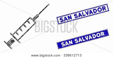Mosaic Syringe Icon And Rectangle San Salvador Seals. Flat Vector Syringe Mosaic Icon Of Scattered R