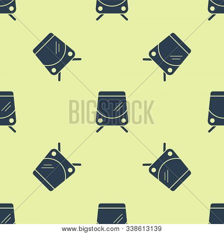 Blue Tram And Railway Icon Isolated Seamless Pattern On Yellow Background. Public Transportation Sym