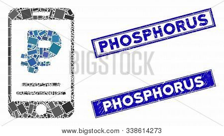 Mosaic Rouble Mobile Payment Pictogram And Rectangle Phosphorus Seals. Flat Vector Rouble Mobile Pay