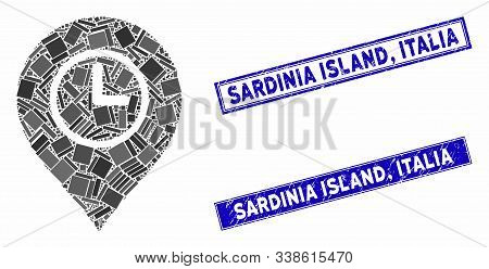 Mosaic Time Marker Icon And Rectangular Sardinia Island, Italia Stamps. Flat Vector Time Marker Mosa