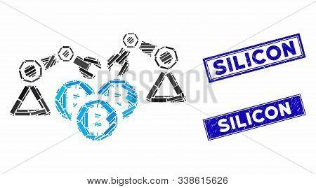 Mosaic Bitcoin Mining Robotics Pictogram And Rectangular Silicon Seal Stamps. Flat Vector Bitcoin Mi