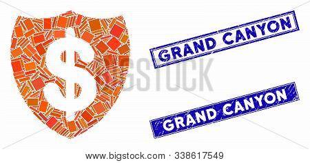 Mosaic Deposit Insurance Icon And Rectangular Grand Canyon Stamps. Flat Vector Deposit Insurance Mos