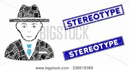 Mosaic Agent Icon And Rectangle Stereotype Rubber Prints. Flat Vector Agent Mosaic Pictogram Of Scat
