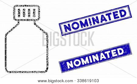 Mosaic Phial Pictogram And Rectangle Nominated Stamps. Flat Vector Phial Mosaic Pictogram Of Randomi