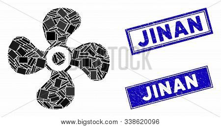 Mosaic Fan Icon And Rectangular Jinan Seal Stamps. Flat Vector Fan Mosaic Icon Of Randomized Rotated
