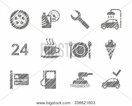 Car Service Icons, Shading Pencil, Gray, Vector. Repair And Maintenance Of The Car. Related Products