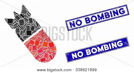 Mosaic Aviation Bomb Icon And Rectangle No Bombing Stamps. Flat Vector Aviation Bomb Mosaic Icon Of