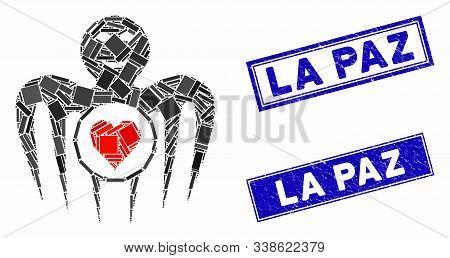 Mosaic Gambling Happy Monster Pictogram And Rectangular La Paz Stamps. Flat Vector Gambling Happy Mo