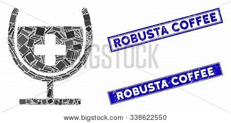 Mosaic Remedy Syrup Glass Pictogram And Rectangle Robusta Coffee Seals. Flat Vector Remedy Syrup Gla