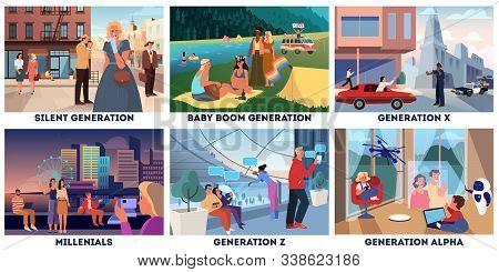 Various Generations Representation Set. Social Groups Concept