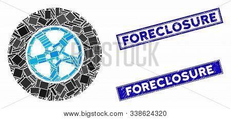 Mosaic Car Wheel Pictogram And Rectangle Foreclosure Rubber Prints. Flat Vector Car Wheel Mosaic Pic